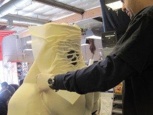 Adding neck texture with an overlay of glue crinkled thin foam