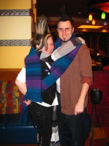 Bryan and Mette- wrapped in 4th Doctor Scarves