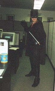 At a work party, adult Bob slashes a Z as a $135 Zorro! (Halloween 2000)