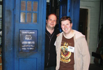 Chris and John with the original 80s TARDIS