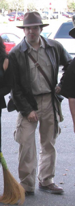 Rocking the Indiana Jones look for work at Halloween 2003