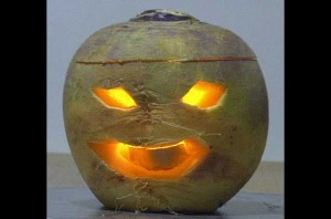 Carved Turnip Jack O Lantern