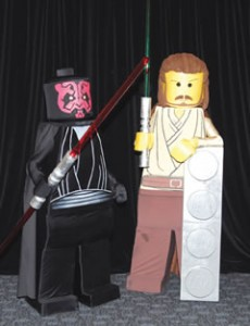 Mette and Bryan as Lego Darth Maul and Qui-Gon Jinn