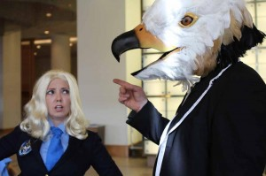 Malaki as the Bird headed Boss from Danger 5