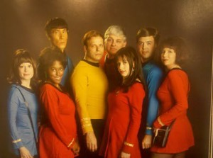 Teri with our Star Trek Crew in the Comic Con book