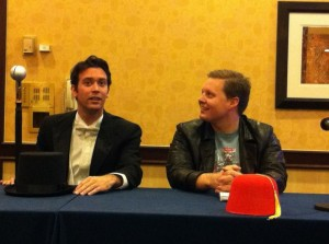 Brian and CJ at a panel at Gallifrey