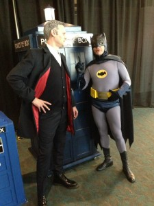 Kevin as Twelve and Scott as batman arguing over the TARDIS