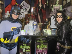Scott and Vickie SHow off the new Bat-Statues